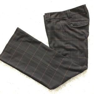 Straight Wide Leg Brown Plaid Pants - Size 6